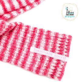 Sokken Labels wit roze