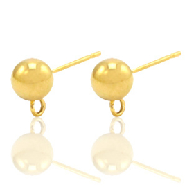 Roestvrij stalen (RVS) Stainless steel oorbellen met oog Goud