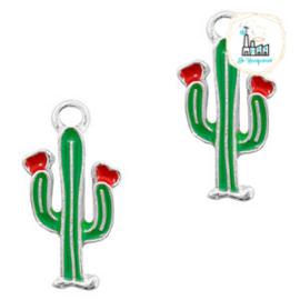 bedels cactus Zilver-rood groen 18 X 9 MM