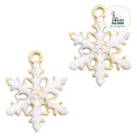 Bedels Sneeuwvlokje Goud-wit 19x15mm