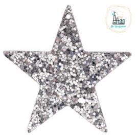 Imi leer hangers ster met glitters Silver 5 CM
