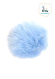 Pompon kunstbont  10 cm doorsnede Saffier Blauw