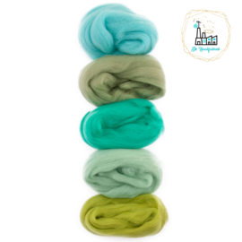 Kleurset Europese Merino Lontwol Groen & Zeegroen tinten nr 6