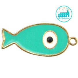 Vis bedel met 1 oogje 44 mm x 20 mm aqua goud