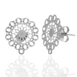 Roestvrij stalen (RVS) Stainless steel oorbellen/oorstekers bohemian bloem met oogje Zilver