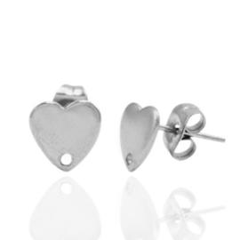 Roestvrij stalen (RVS) Stainless steel oorbellen/oorstekers hartje met oogje Zilver