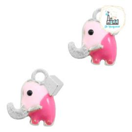 bedels olifantje Zilver-roze 10 x 9 MM
