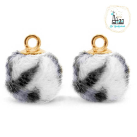 Pompom bedels met oog faux fur leopard 12mm Off white-gold