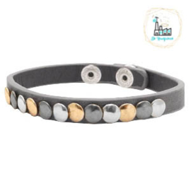 Armband met studs Dark Grey ca. 20cmx8mm