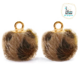 Pompom bedels met oog faux fur leopard 12mm Chocolate brown-gold