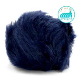 Pompon kunstbont  6 cm doorsnede Donker Blauw