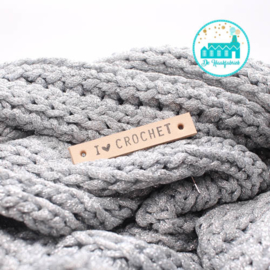 I Love Crochet Leren Label Bedrukt
