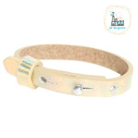 Cuoio armband leer kids 8mm Holographic Creme