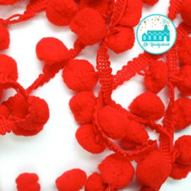 Pompon Strip Red 1 meter / pompons 1 cm