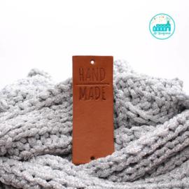 Big Labels  8 cm x 3 cm cognac Handmade with crochet needle