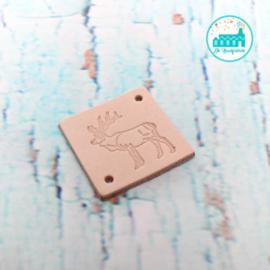 Vierkant Leren Label met een Rendier 3,5 cm x 3,5 cm