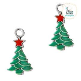 Bedels Kerstboom Zilver-groen 20x11mm