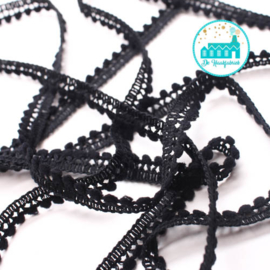 Mini Pompon Strip Black 1 meter