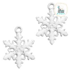 Bedels Sneeuwvlokje Zilver-wit 19x15mm