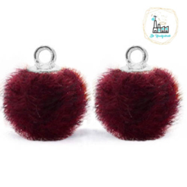 Pompom bedels met oog faux fur 12mm Port purple red-silver