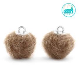 Mini Pompons Faux Fur 12 mm Taupe