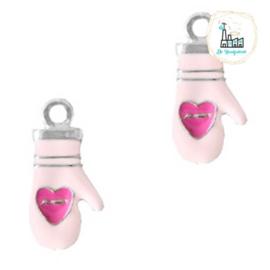 Bedels Wanten Zilver-pink 24x12mm