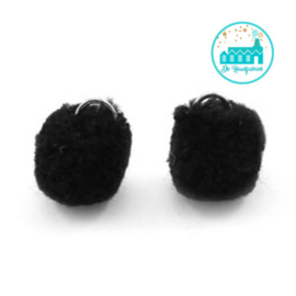 Mini Pompons 15 mm Zwart