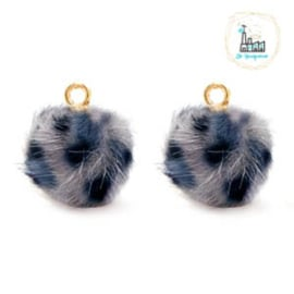 POMPOM BEDELS FAUX FUR LEOPARD GREY-BLUE 12MM