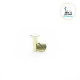 Schroefsluiting 5 mm x 15 mm messing voor Tas Hengsels of voor Leren Labels te bevestigen.