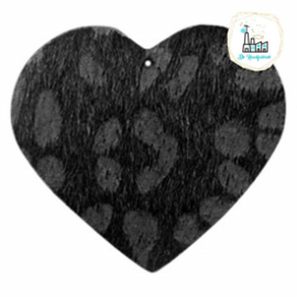 Hairy imi leer hangers hart met leopardprint Black Antraciet 56x50mm