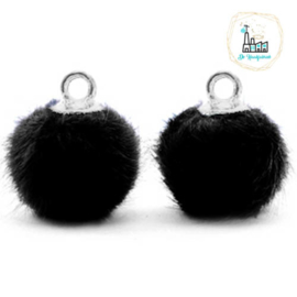 Pompom bedels met oog faux fur 12mm Black-gold