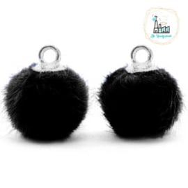 Pompom bedels met oog faux fur 12mm Black-silver