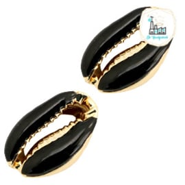 Schelp kralen specials Kauri Half black-gold