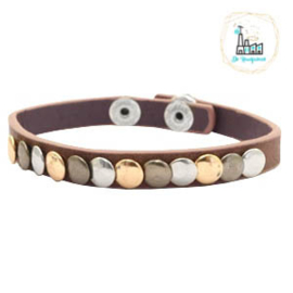 Armband met studs Brown ca. 20cmx8mm