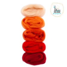 Kleurset Europese Merino Lontwol Rood & Oranje tinten nr 2