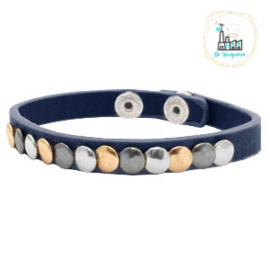 Armband met studs Dark Blue ca. 20cmx8mm