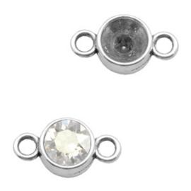 Setting TQ metaal 2 ogen voor SS39 puntsteen Antiek zilver