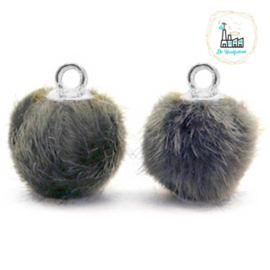 Pompom bedels met oog faux fur 12mm Dark grey-silver