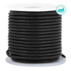 Round Leather String 2 mm Black
