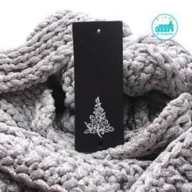 Big Labels  8 cm x 3 cm Zwart Kerstboom wit
