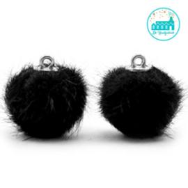 Mini Pompons Faux Fur 16 mm Zwart
