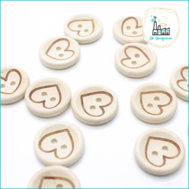 Wooden Button 20 mm 'Heart'