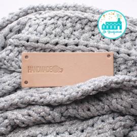 Big Labels 8 cm x 3 cm 'Handmade with sphere Wool' transverse