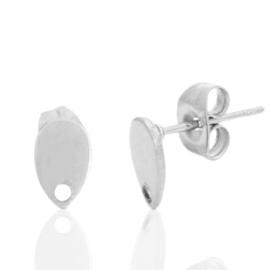 Roestvrij stalen (RVS) Stainless steel oorbellen/oorstekers druppel met oogje Zilver