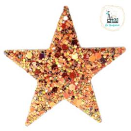 Imi leer hangers ster met glitters Rosegold-gold 5 CM