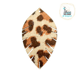 Imi leer hangers leaf leopard Beige-red brown Small