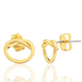 DQ metaal oorbellen knoop Goud (nikkelvrij)