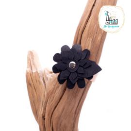 Leren Sjaalriempje Naturel met Zwart Bloem 21