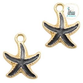 Starfish Charm 8 mm x 14 mm black