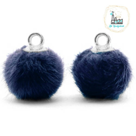 Pompom bedels met oog faux fur 12mm Dark blue-silver